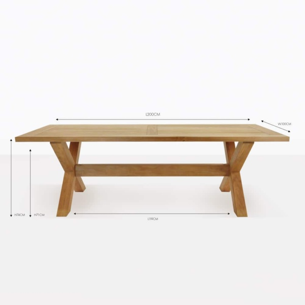 x leg teak dining table