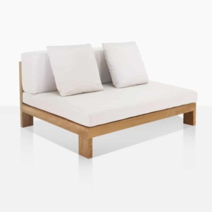 Amalfi teak outdoor sectional armless chair center angle