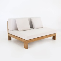 amalfi sectional centre teak armless chair front angle view