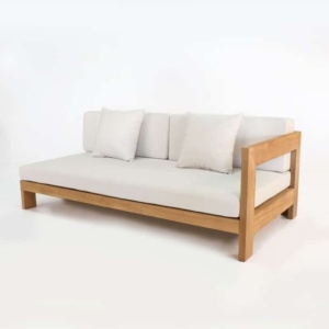 amalfi left armed teak daybed front angle view