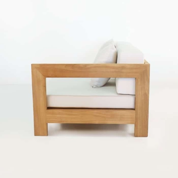 amalfi left armed teak daybed side view