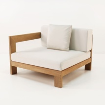 amalfi teak sectional end chair front angle view