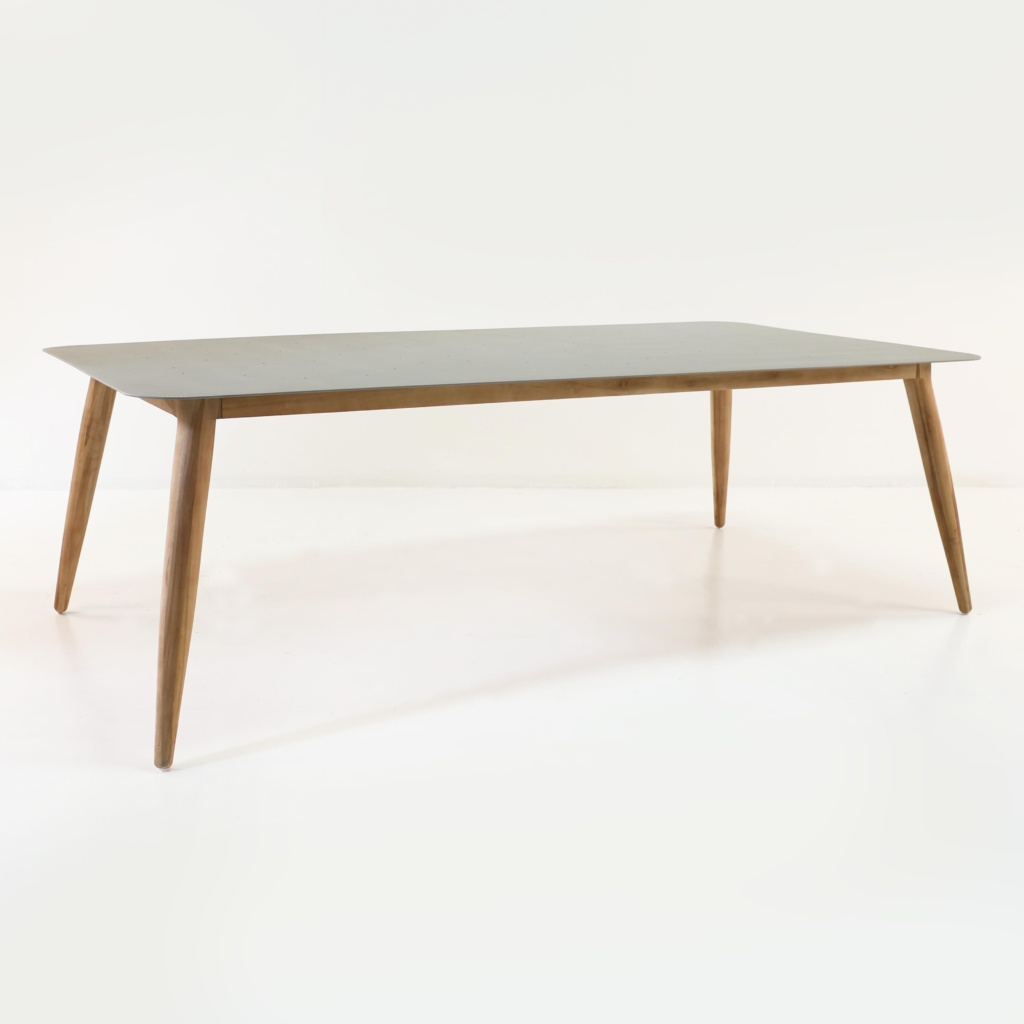 edition aluminum and teak outdoor dining table 240cm