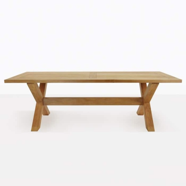 x-leg teak outdoor dining table straight