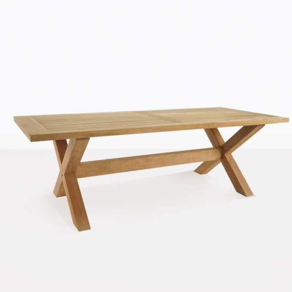 x-leg teak outdoor dining table angle