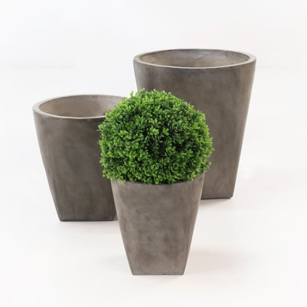 round BLOK concrete flower planter