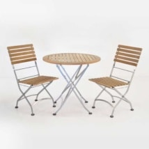Cafe Round Folding Table and Side Chairs Dining Set front angle view
