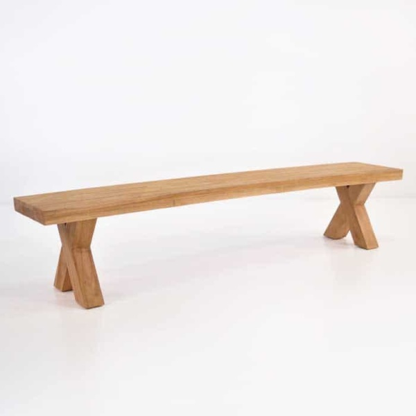 outdoor reclaimed teak bench front angle view
