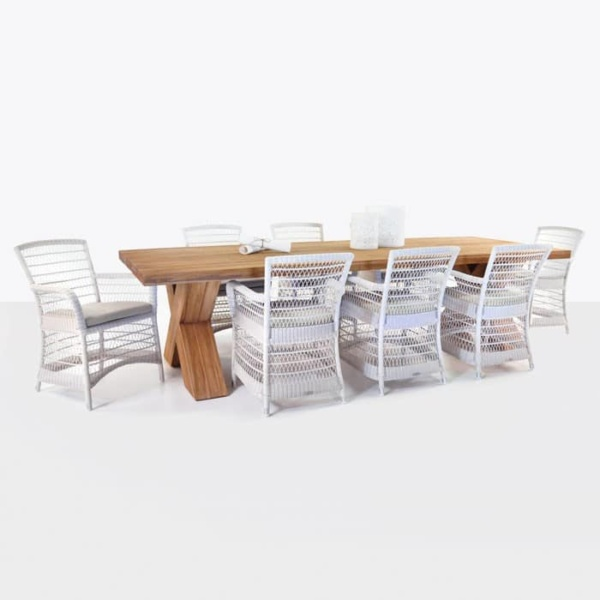 outdoor wicker and teak dining set front angle view