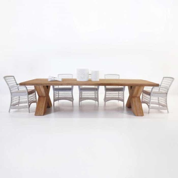 outdoor wicker and teak dining set pic2