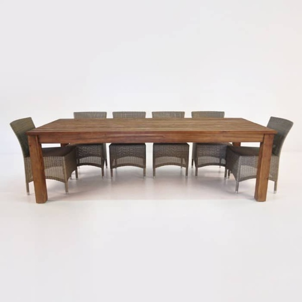 Manhattan Reclaimed Teak Table With 6 Wicker Chairs Outdoor Dining Set-0