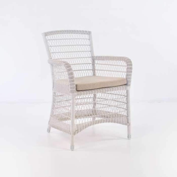 outdoor wicker dining chair white