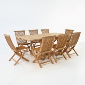 Rectangle Teak Extension Table with 8 Chairs Outdoor Dining Set front angle view