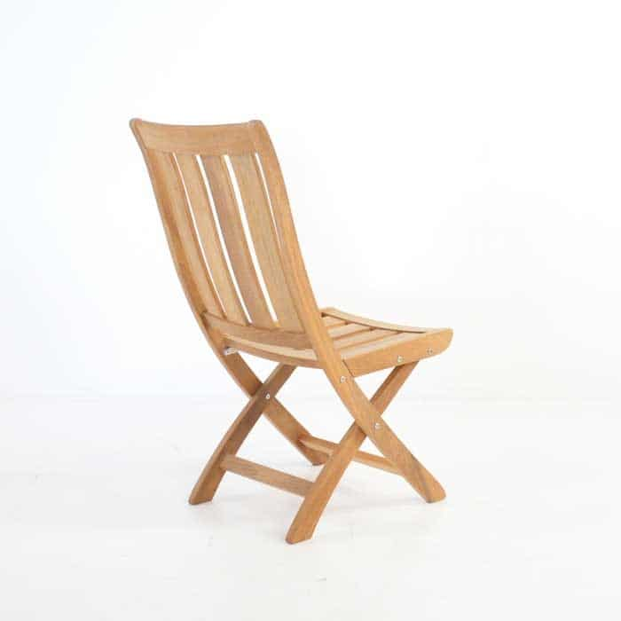 bella teak folding side chair back angle view