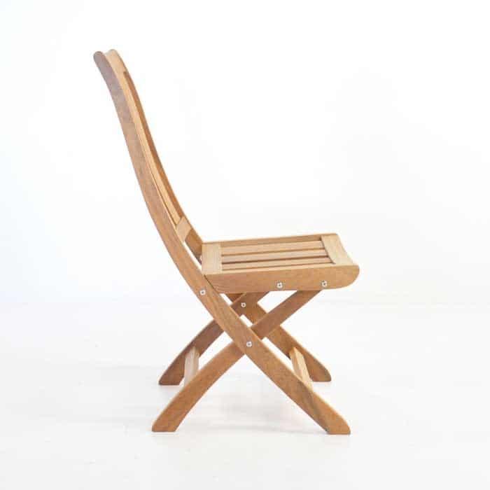 bella teak folding side chair side view