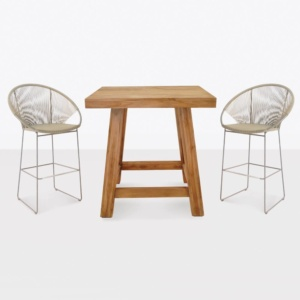 teak and wicker bar dining set front angle view