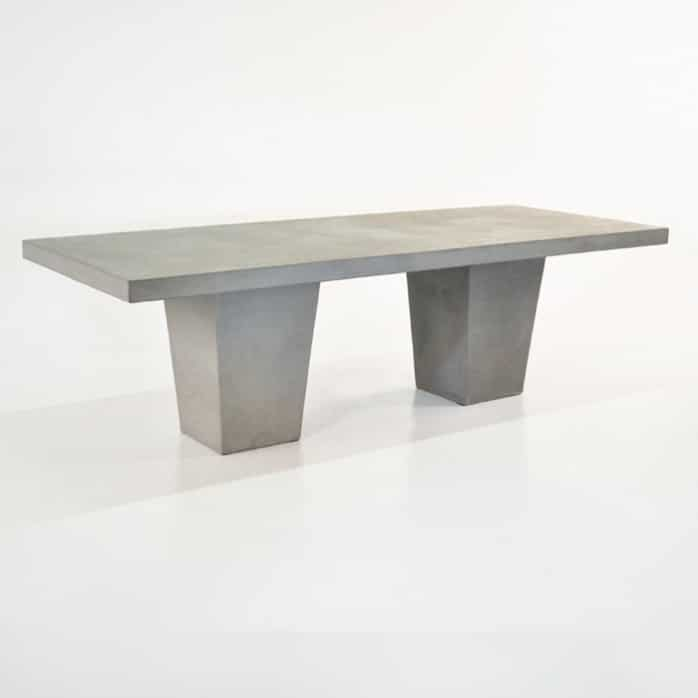 Raw Concrete Tapered Outdoor Dining Table front angle view
