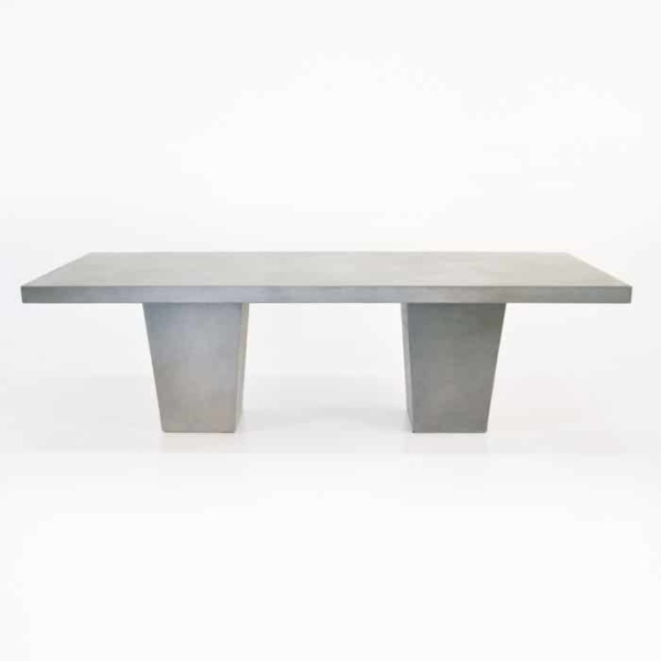 Raw Concrete Tapered Outdoor Dining Table-1590