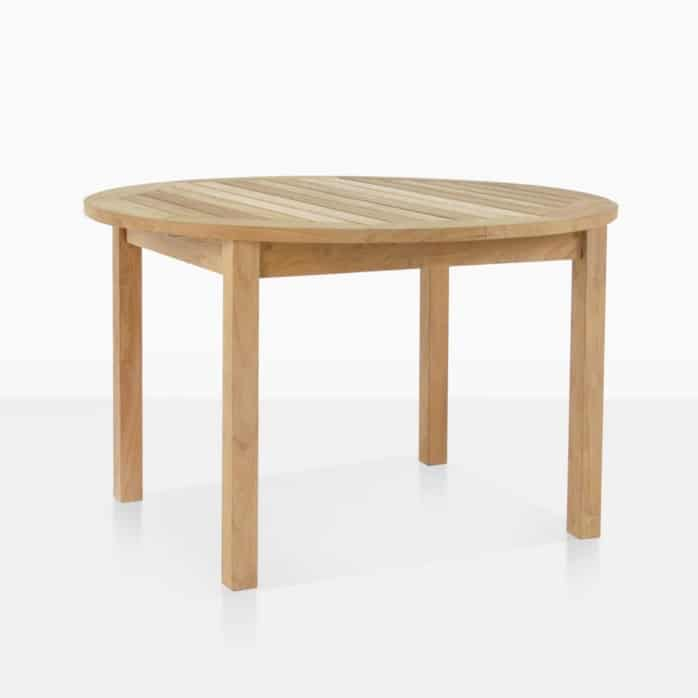 nova round teak outdoor dining table angle