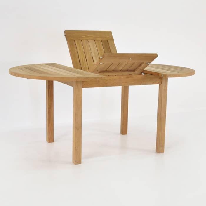 Nova round teak extension outdoor dining table design for Round teak outdoor table
