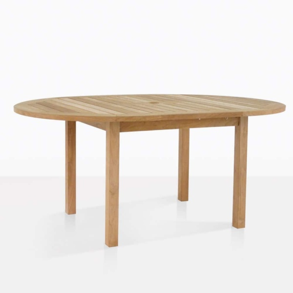 nova round teak outdoor dining table open