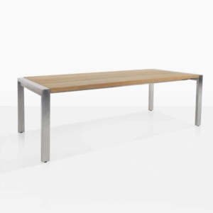 stainless steel and teak plank dining table side
