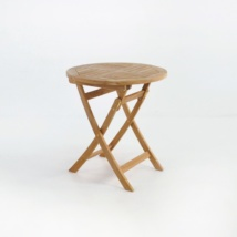 Round Teak Folding Dining Table front angle view