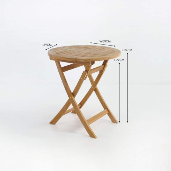 Round teak folding outdoor table