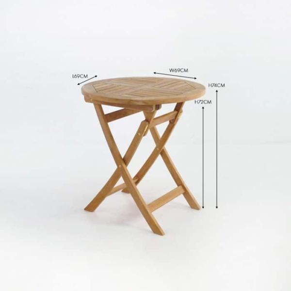 Round teak folding outdoor table