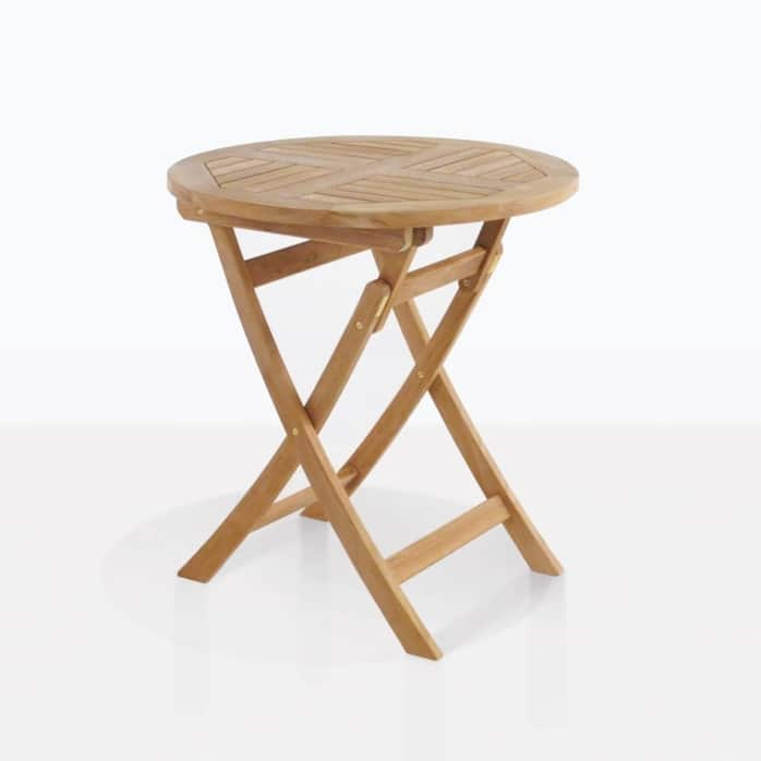 round teak outdoor folding table