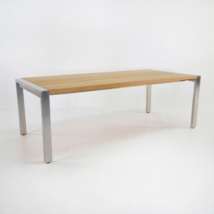 Stainless Steel and Teak Plank Dining Table front angle view