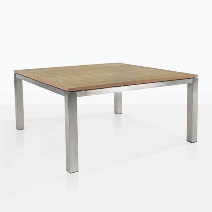 square stainless and teak outdoor dining table angle