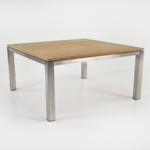Square Stainless and Teak Outdoor Dining Table 150cm front angle view