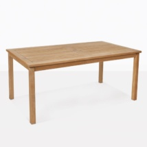 teak rectangle dining table front angle view