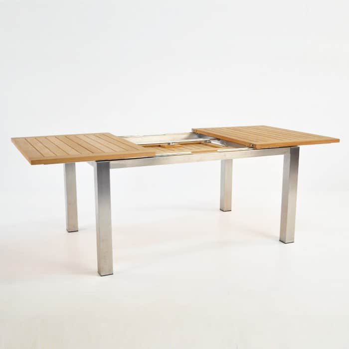 Stainless Steel And Teak Extension Dining Table 150cm