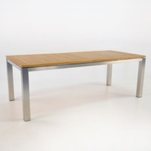 Stainless Steel and Teak Extension Outdoor Dining Table 220cm -0