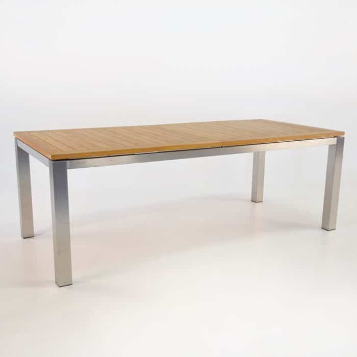 220cm stainless steel and teak extension dining table for C furniture warehouse nz