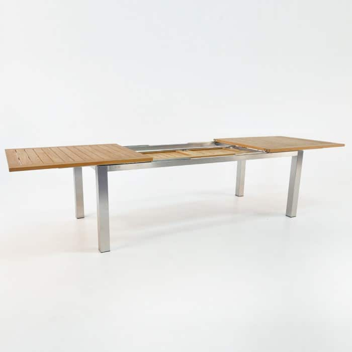 Stainless Steel and Teak Extension Outdoor Dining Table 220cm -1435