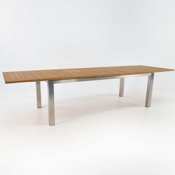 Stainless Steel and Teak Extension Outdoor Dining Table 220cm -1436