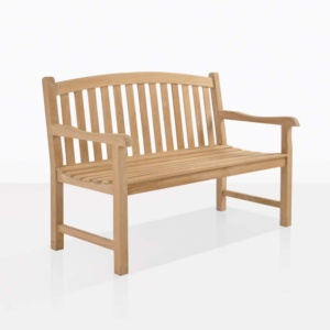 Bowback 2 seater teak outdoor bench angle