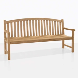 Bowback 3 seater teak outdoor bench angle
