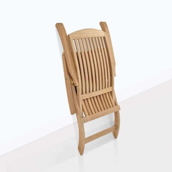 classic teak sun lounger chair folded
