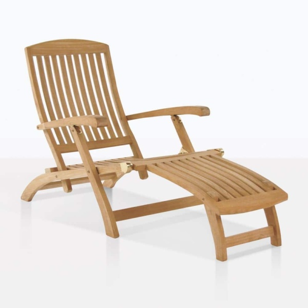 classic teak sun lounger chair angle