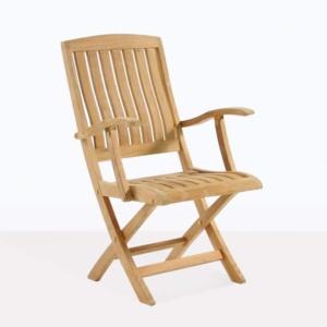 como folding arm chair angle teak