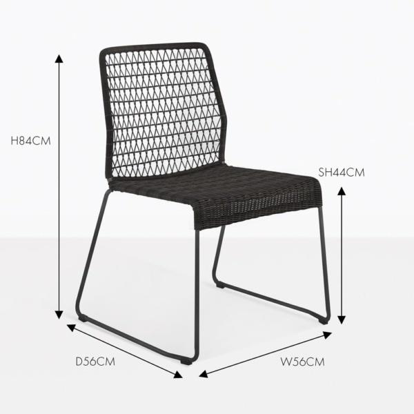 edge wicker dining side chair black