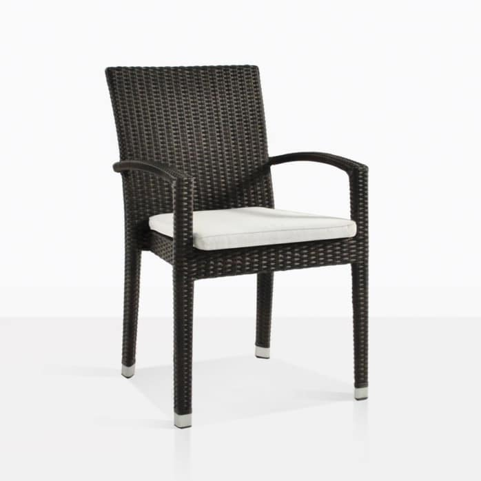 Romansa wicker arm outdoor chair java with cushion