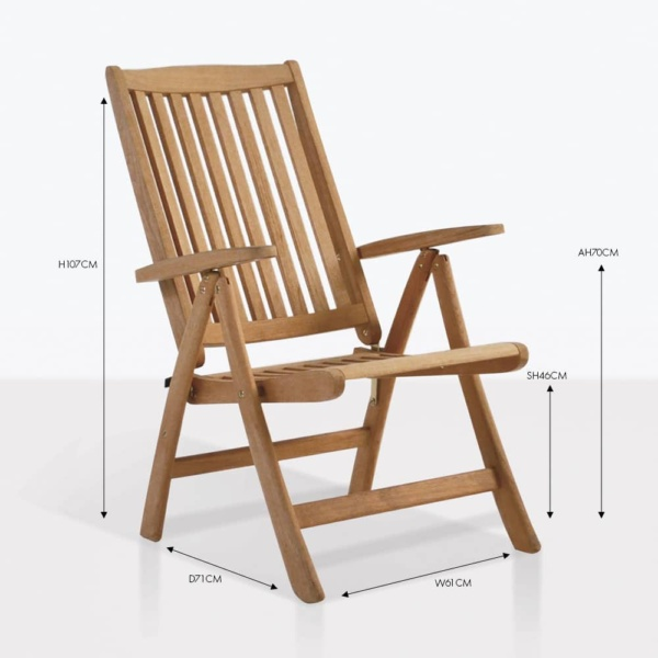 St. Mortiz teak folding recliner chair