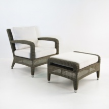 Aaron Outdoor Wicker Chair and Ottoman Set (Kubu)-0