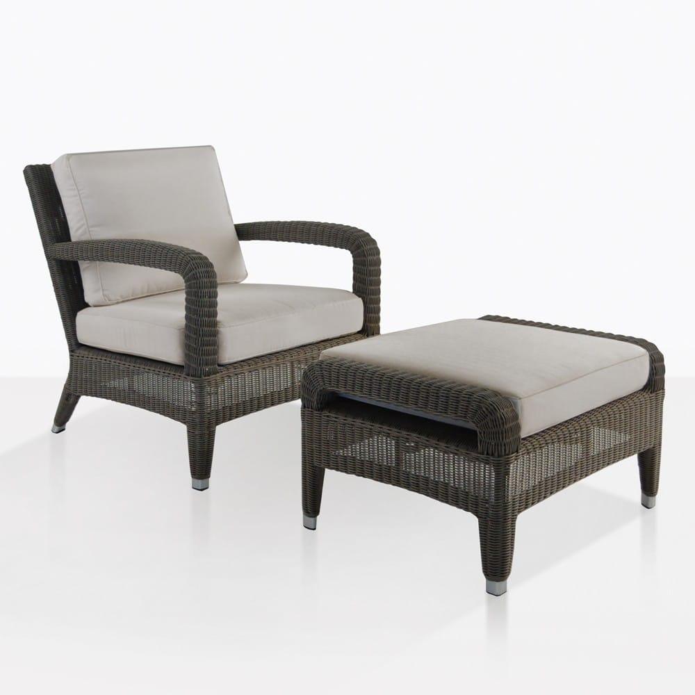 Aaron Outdoor Wicker Chair And Ottoman Set Kubu Design