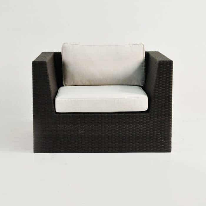 Outdoor Wicker Club Chair in Java front view
